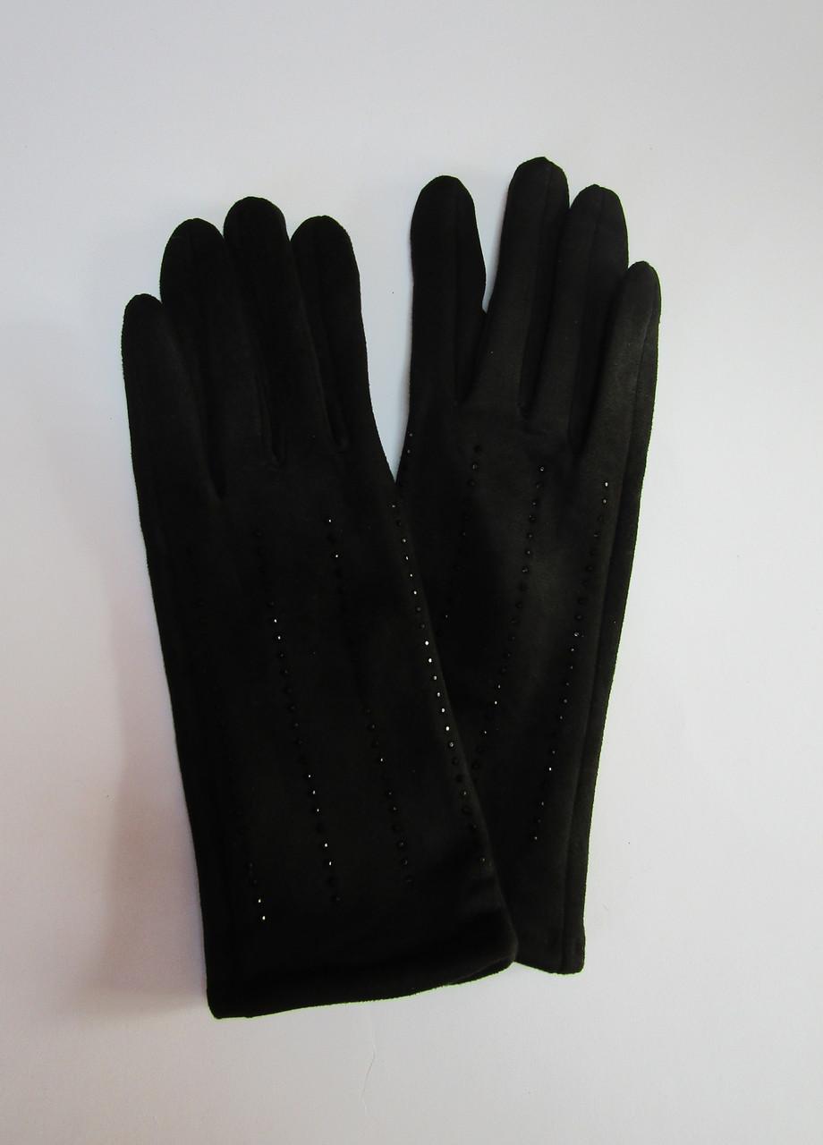 Зимние женские перчатки из эко замши Черный