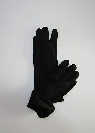 Зимние женские перчатки из эко замши Черный, фото 2
