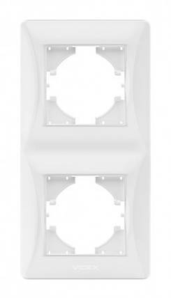 VIDEX BINERA Рамка белая 2 поста вертикальная (VF-BNFR2V-W) (12/96), фото 2