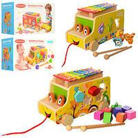 Деревянная игрушка Игра MD 1173 (24шт) машинка,каталка,ксилоф,сортер,2вида,в кор-ке,28,5-18-18,5см