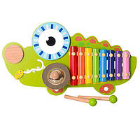 Деревянная игрушка Ксилофон MD 1057 (8шт) 8тонов,43см,в виде крокодила,палочки2шт,в кор,45-25-8,5см