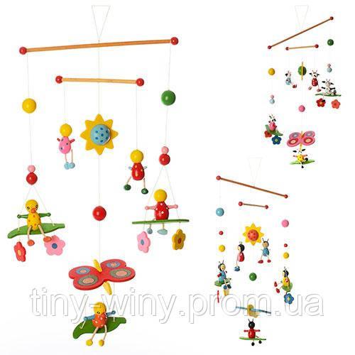 Деревянная игрушка Подвеска MD 0990 (120шт) 52см, подвески 5шт, микс видов,в кульке,15-20-3см