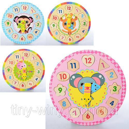Деревянная игрушка Часы MD 1137 (100шт) цифры-пазлы, рамка-вкладыш, 5видов, в кульке,27,5-27,5-1см