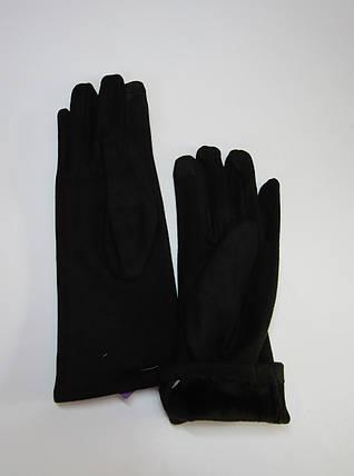 Зимние женские замшевые перчатки (эко замш) Черный, фото 2