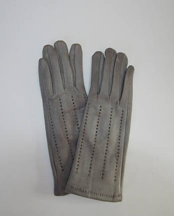 Зимние женские перчатки (эко замш) Серый, фото 2