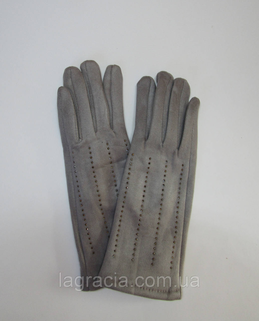 Зимние женские перчатки (эко замш) Серый
