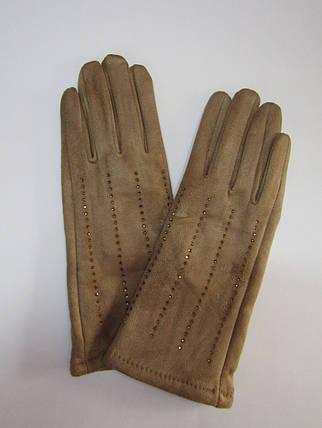 Зимние женские перчатки (эко замш) Бежевый, фото 2