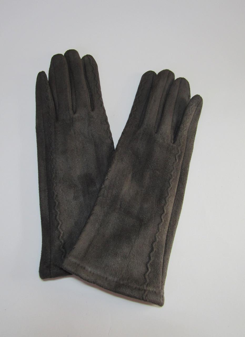 Женские замшевые перчатки (эко замш) Темно-серый