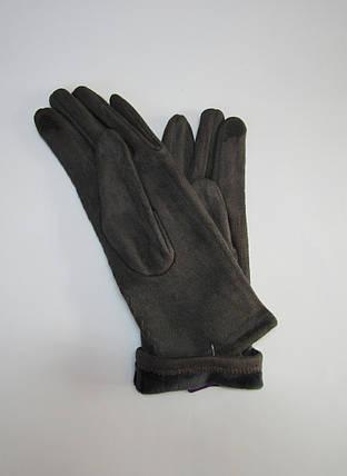 Женские замшевые перчатки (эко замш) Темно-серый, фото 2