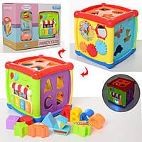 Игра HE0520 (24шт) куб,муз,свет, сортер,пианино,трещотка,часы,зеркало,на бат,в кор-ке, 26,5-21-16см