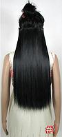 Накладная прядь на пяти клипсах-заколках, длина - 60 см, вес - 120 г, прямые волосы, цвет - №1, черный