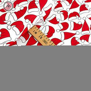 """Польская хлопковая ткань """"колпаки красные на белом"""", фото 2"""