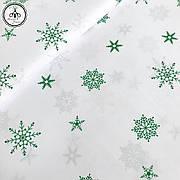 """Польская хлопковая ткань """"снежинки зеленые на белом"""""""