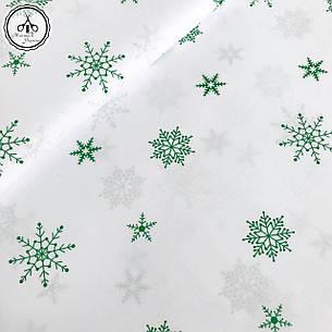 """Польская хлопковая ткань """"снежинки зеленые на белом"""", фото 2"""
