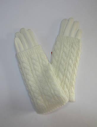 Зимние женские перчатки с митенками Молочный, фото 2