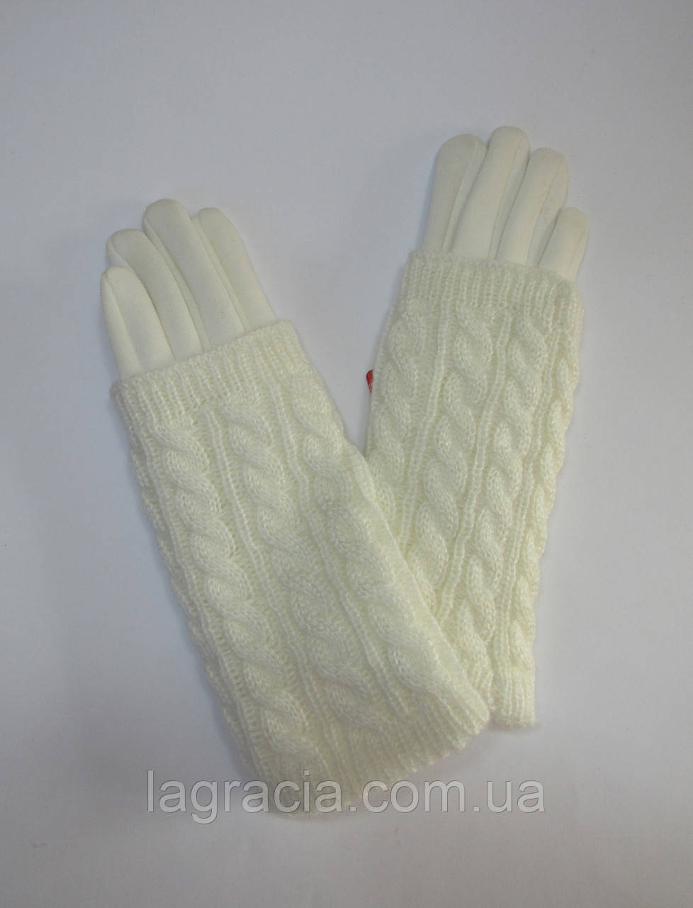 Зимние женские перчатки с митенками Молочный
