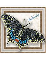 """003-BGP Набор для вышивки бисером на прозрачной основе """"Бабочка Черный Махаон"""""""