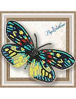 """007-BGP Набор для вышивки бисером на прозрачной основе """"Бабочка Erasmia Pulehera"""""""
