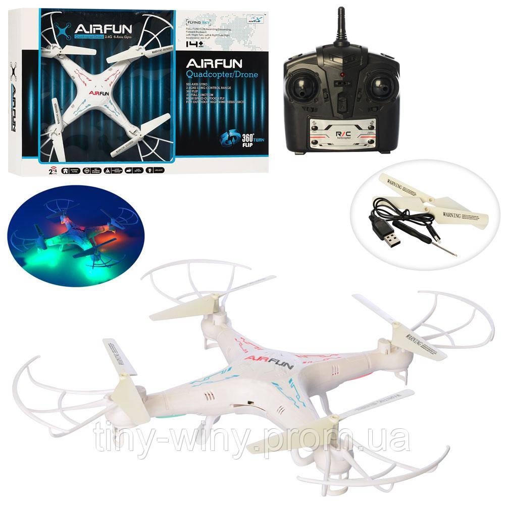 Квадрокоптер AF918 (9шт) р/у2,4G, аккум, 39см, зап.лопасти,USBзарядн,свет,в кор-ке, 49-33,5-9см