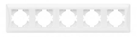 VIDEX BINERA Рамка белая 5 постов горизонтальная (VF-BNFR5H-W) (12/48)