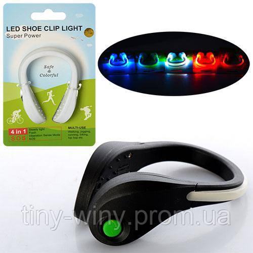 Клипса для обуви MS 0697 (60шт) пластик 2 цвета, подсветка 5 цветов, на листе, 10-16-4см