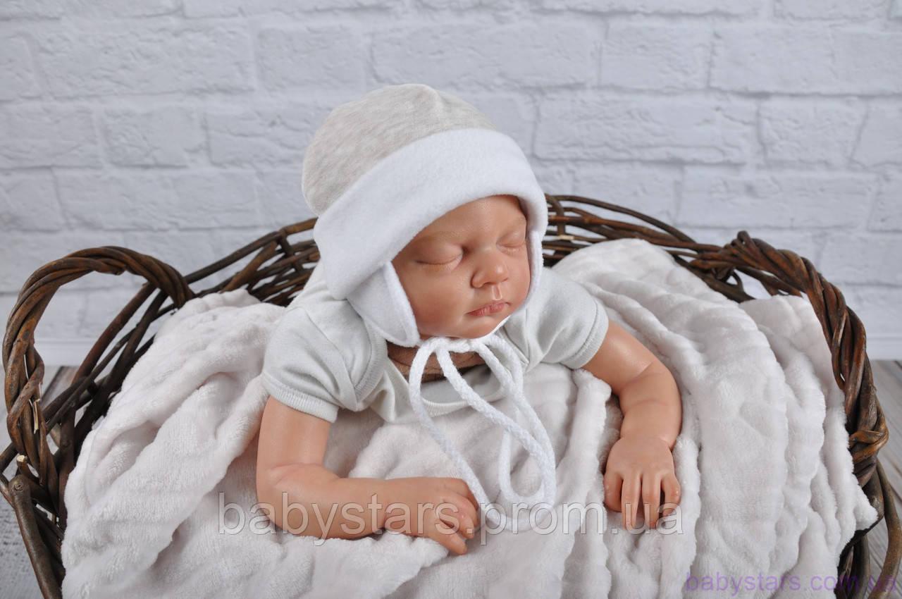 Велюровая шапочка для новорожденного, бежевый мелланж