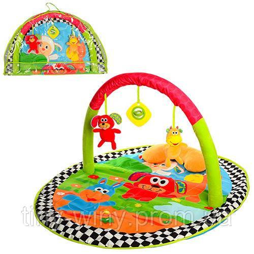 Коврик для младенца FP-025 (6шт) дуга, шуршалка, подвески 3шт(2в-погремушка),в сумке, 78-48-6см