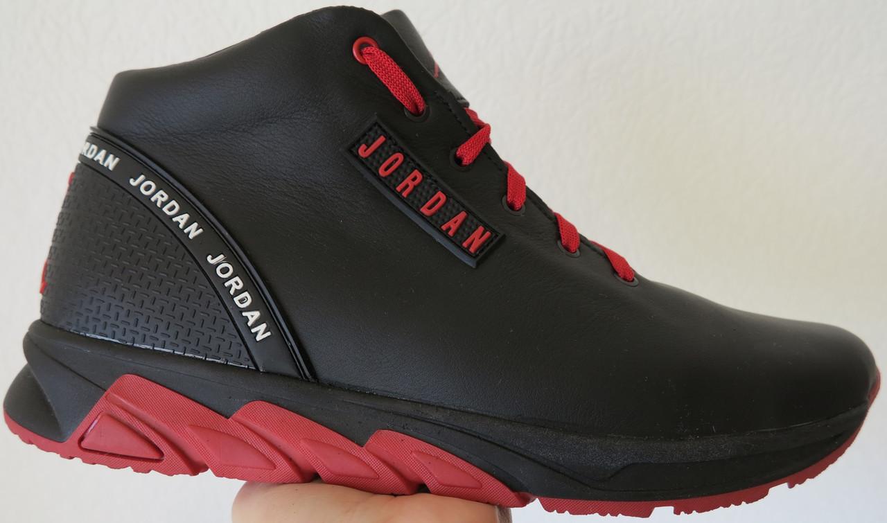 6975f2ec Jordan RP зимние мужские кроссовки кожа черные с красным в стиле Джордан