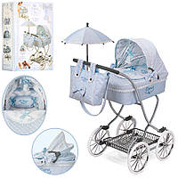 Коляска 80222 (4шт) для куклы, классика, сумка, зонтик, корзинка,80-45-90см,в кор-ке,38-57-15см