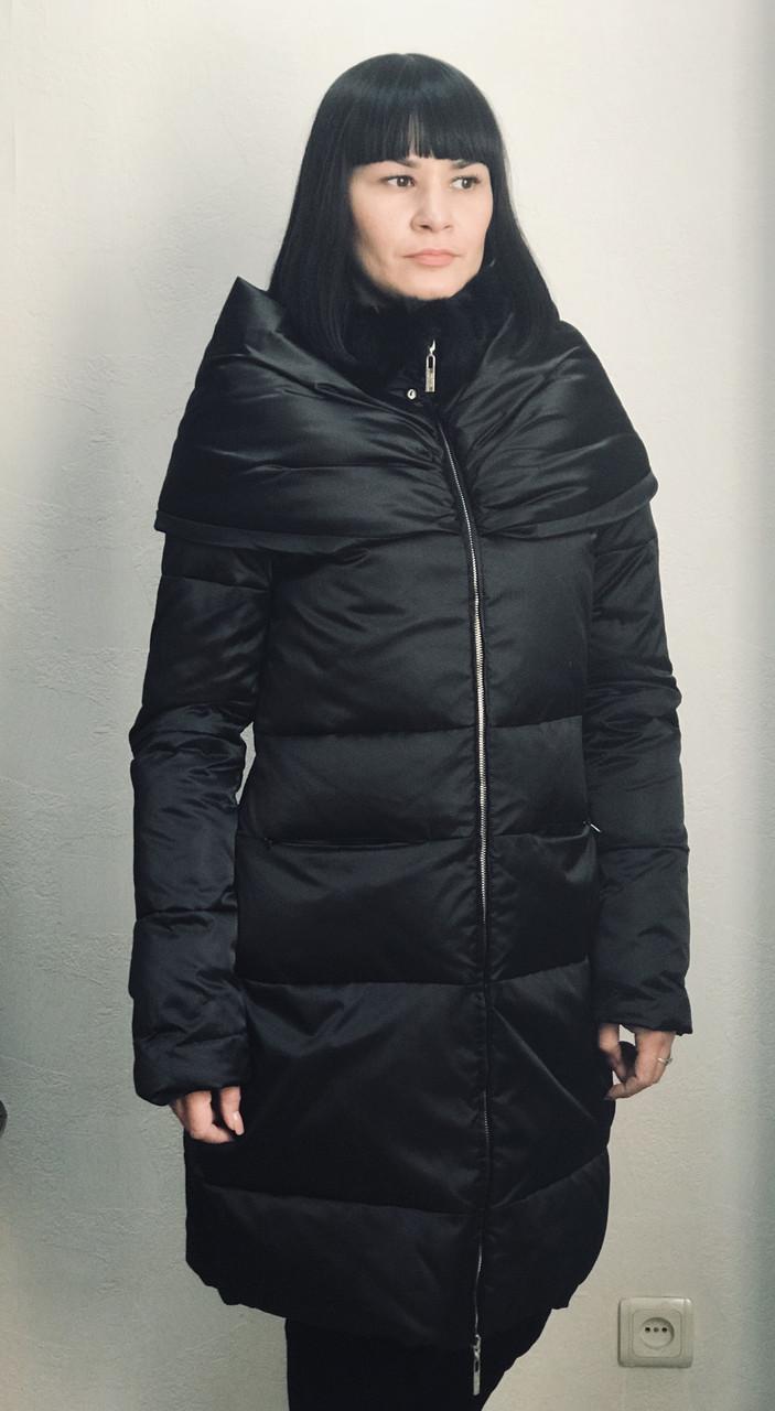 Пуховик пальто женский брендовый зимний черный приталенный на молнии  модный молодежный стильный