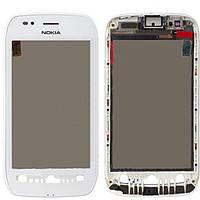 Сенсорный экран (тачскрин) Nokia 710 Lumia с рамкой, белый orig
