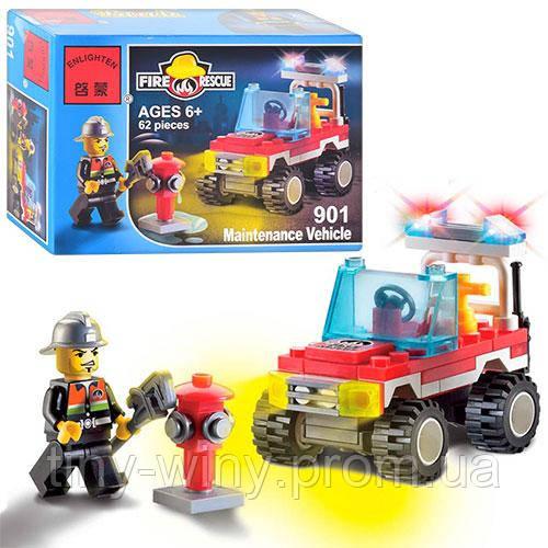 Конструктор BRICK 901 (150шт) Пожарная тревога, машинка, 62 дет, фигурка, в кор-ке, 14-9,5-4,5см
