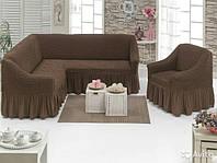 Чехол на угловой диван и одно кресло (шоколад) ТМ Demfirat Karven