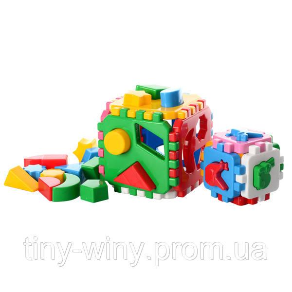 """Куб """"Розумний малюк 1+1"""" 12×12×12 см ТехноК 1899"""