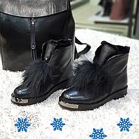 Ботинки женские зимние из натуральной кожи и натурального меха на платформе черные, фото 1