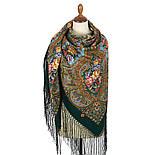 Свет мой, зеркальце 1815-9, павлопосадский платок (шаль) из уплотненной шерсти с шелковой вязанной бахромой, фото 3