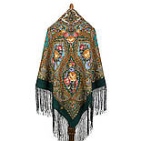 Свет мой, зеркальце 1815-9, павлопосадский платок (шаль) из уплотненной шерсти с шелковой вязанной бахромой, фото 2