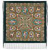 Свет мой, зеркальце 1815-9, павлопосадский платок (шаль) из уплотненной шерсти с шелковой вязанной бахромой