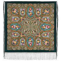 Свет мой, зеркальце 1815-9, павлопосадский платок (шаль) из уплотненной шерсти с шелковой вязанной бахромой, фото 1