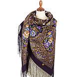 Свет мой, зеркальце 1815-15, павлопосадский платок (шаль) из уплотненной шерсти с шелковой вязанной бахромой, фото 2