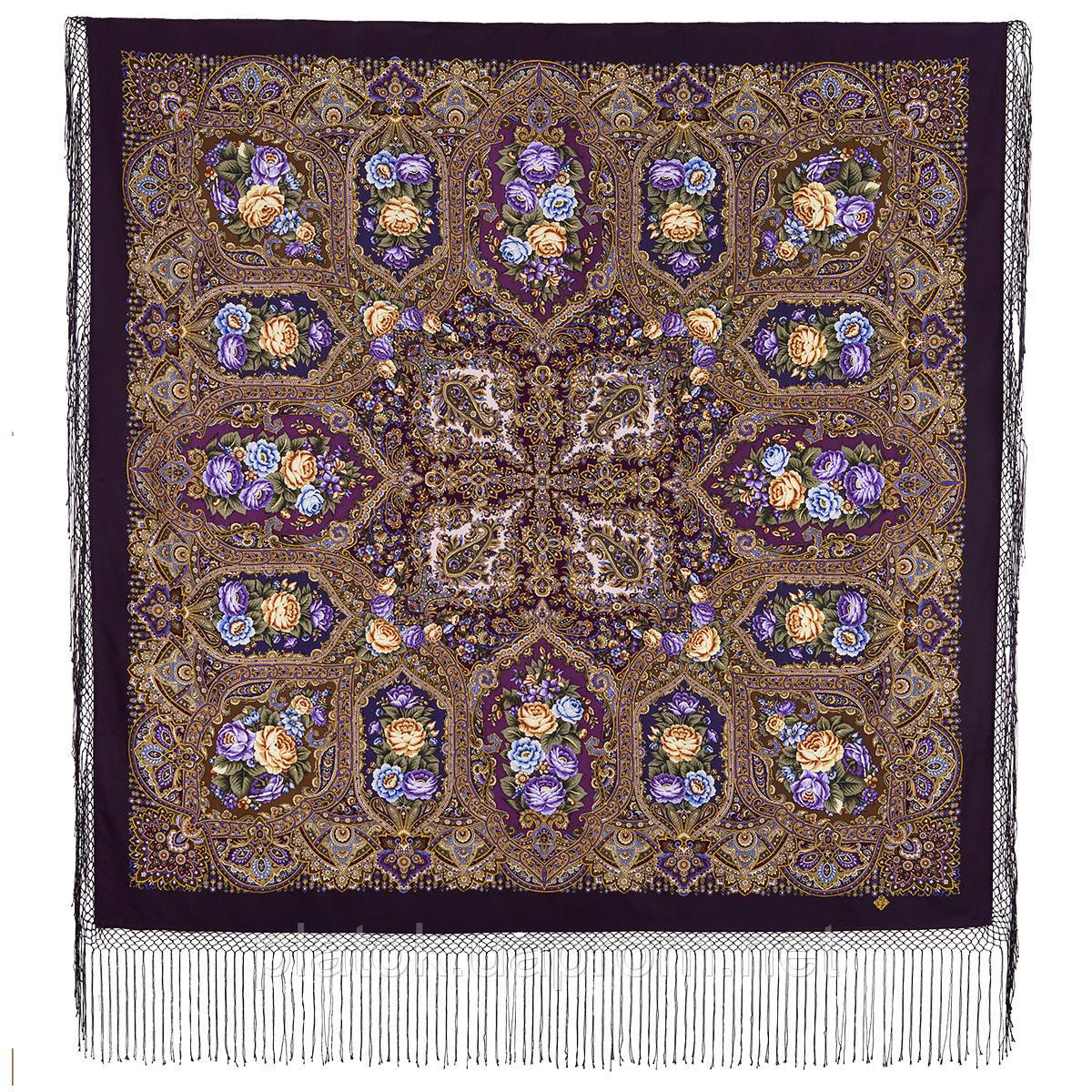Свет мой, зеркальце 1815-15, павлопосадский платок (шаль) из уплотненной шерсти с шелковой вязанной бахромой