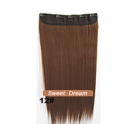 Накладная прядь на пяти клипсах-заколках, длина - 60 см, вес - 130 г, длинные прямые волосы, цвет - №12