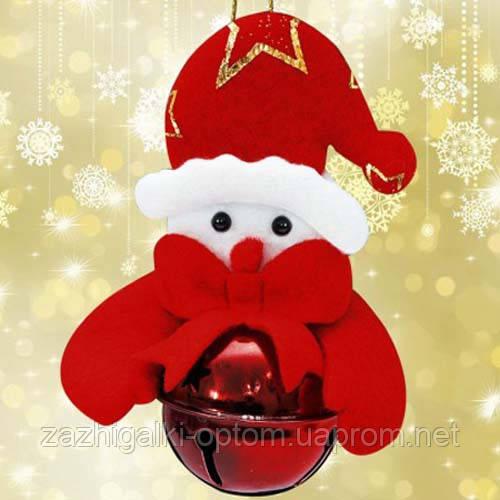 Подвеска бубенчик Снеговик (красный)