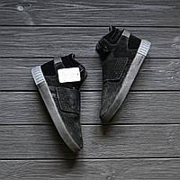 """Мужские кроссовки зимние Adidas Tubular Invader Winter Fur """"Black"""" Реплика"""