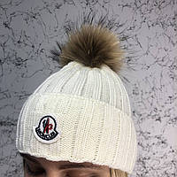 Шапка женская Moncler Winter Hat Knitted Pompon Milky