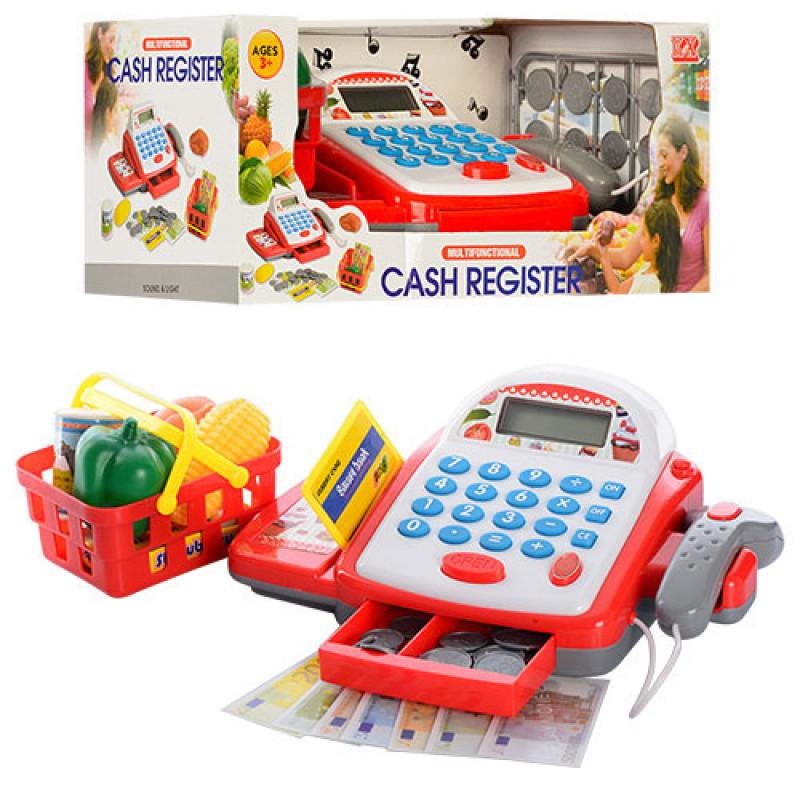 Касовий апарат 6300 калькулятор, сканер, кошик, продукти, монети, музика, світло, в коробці, 31,5-16-13,5см