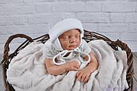 Велюрові дитячі шапочки для немовлят, світло-сірий мелланж, фото 1