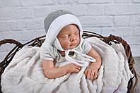 Велюровая шапочки для новорожденных от 0 (рождения), темно-серый мелланж, фото 1