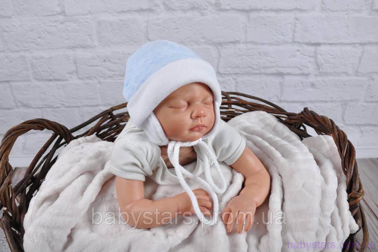 Велюровая шапочка для новорожденного мальчика, голубой мелланж