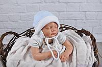 Велюровая шапочка для новорожденного мальчика, голубой мелланж, фото 1